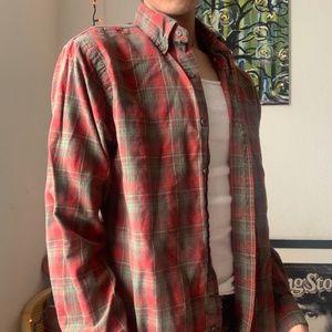 ralph lauren red and green flannel shirt